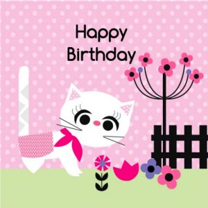 Happy Birthday Card - White Cat